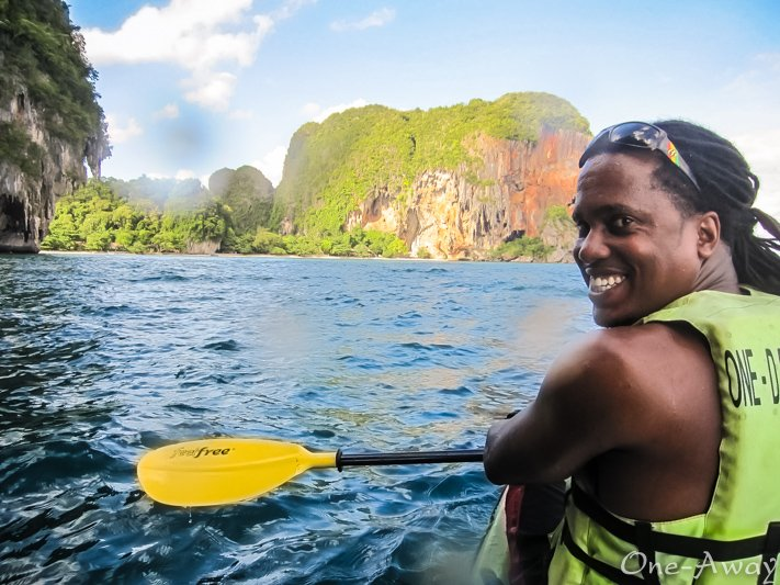 Kayaking from Railay to Phra Nang Beach in 2012.