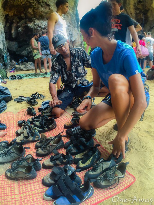 Betina prepares for first rock climb on East Railay Beach Krabi Thailand